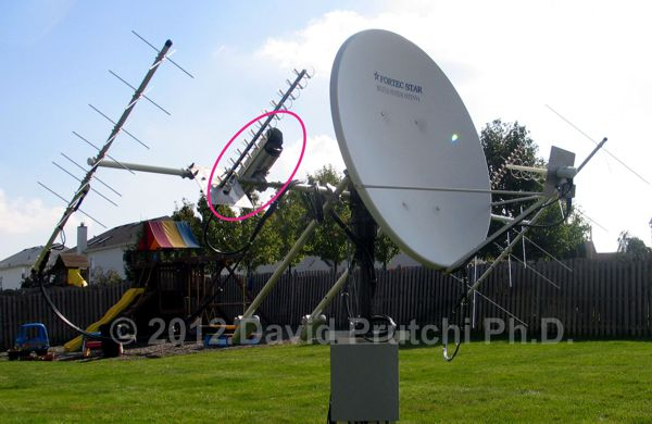Camera mounted on N2QG's space-communications antenna array