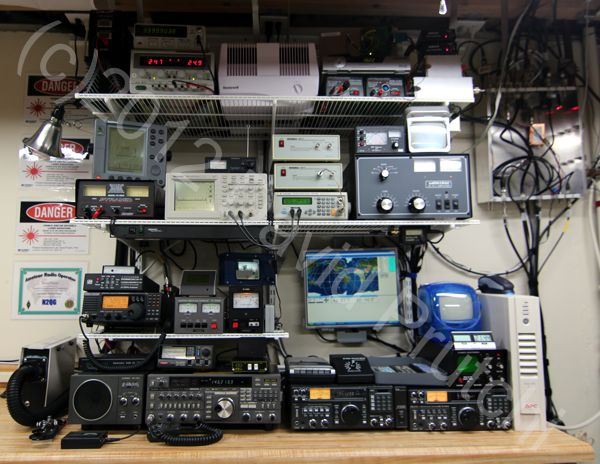 Ham radio shack at N2QG. (c)2012 David Prutchi, Ph.D.