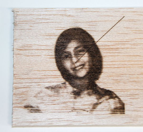 d.i.y. laser engraving photograph on wood using home-built laser engraver by David Prutchi
