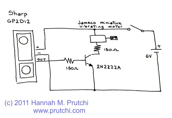 Circuit schematic diagram of SharkVision obstacle detector for the blind by Hannah Prutchi www.prutchi.com
