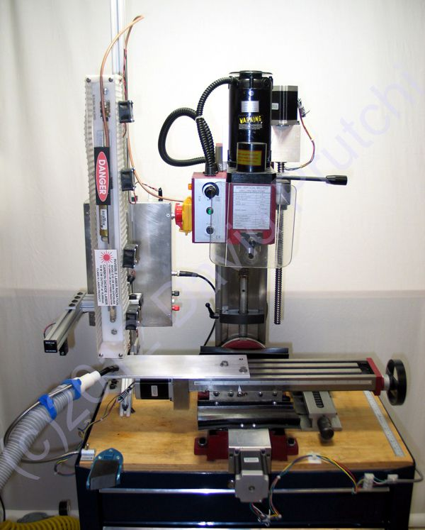 CNC Sieg X2 mini mill with laser engraver/cutter by David Prutchi Ph.D.