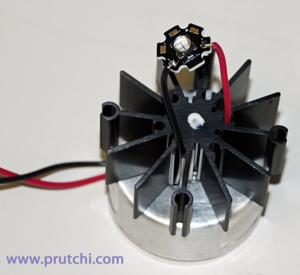 Mounting LED for diy high-power UVIR / Visible flashlight by David Prutchi PhD www.prutchi.com  www.diyPhysics.com