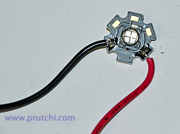 Soldering high-power starboard LED for diy high-power UVIR / Visible flashlight by David Prutchi PhD www.prutchi.com  www.diyPhysics.com