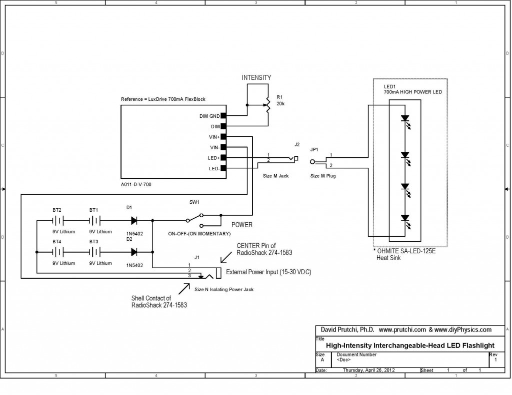 circuit diagram for high power UV/IR/visible Flashlight by David Prutchi PhD www.diyPhysics.com