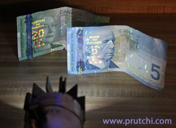 diy high-power 365nm flashlight showing fluorescence of Canadian bills  www.prutchi.com  www.diyPhysics.com
