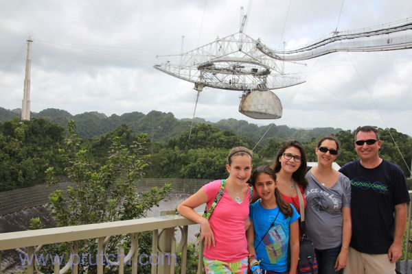 Prutchi family visit to Arecibo Observatory Radio-Telescope in Puerto Rico. Dsvid Dorith Shanni Hannah Abigail Prutchi diy radio-astronomy