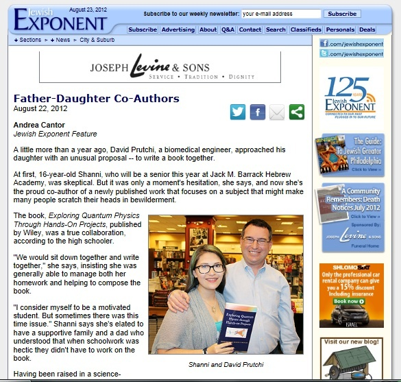 Philadelphia Exponent article about diy Quantum Physics by David and Shanni Prutchi