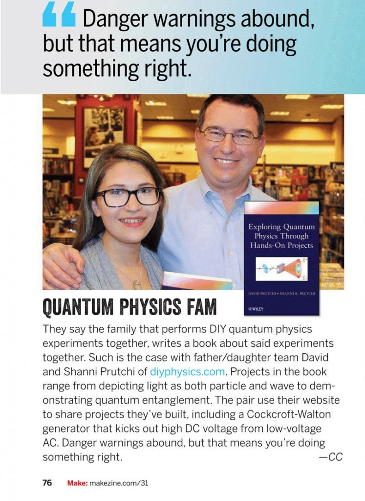 MAKE Magazing article about diy Quantum Physics book by David and Shanni Prutchi