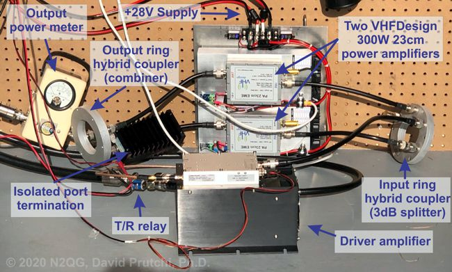 (c)2020 N2QG 1296MHz power amplifier construction using 2 VHFDesign 300W pallets. David Prutchi PhD