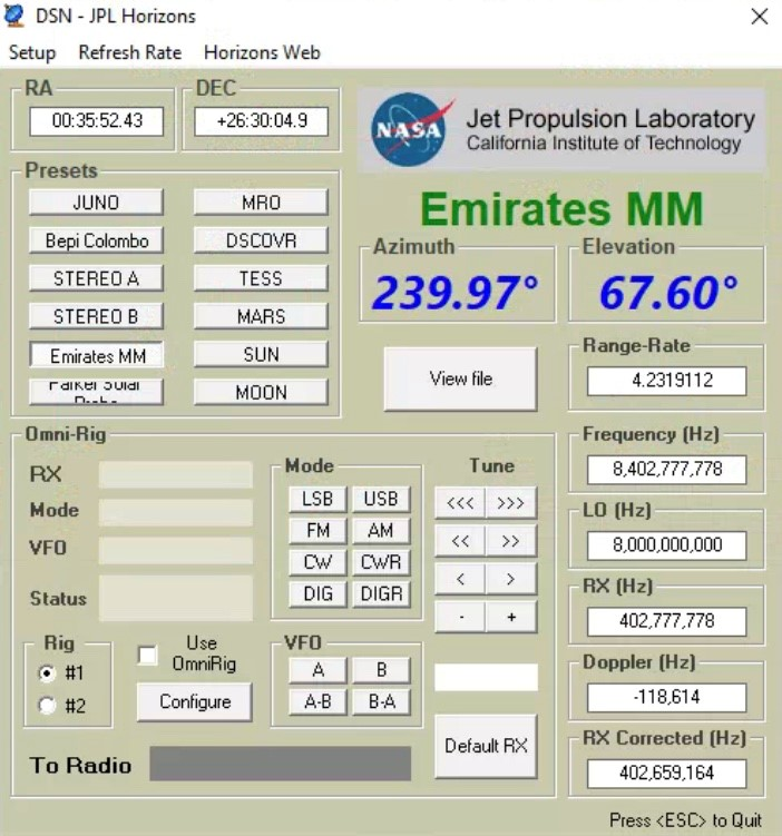 Emirates Mars Mission HOPE MARS MISSION tracked by N2QG (c)2020 David Prutchi PhD