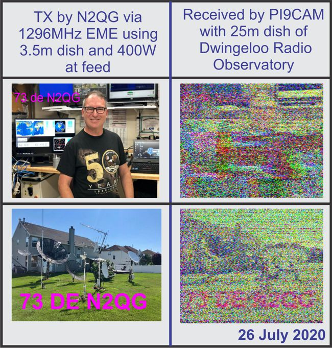 Images transmitted by N2QG and received by PI9CAM via 1296MHz EME SSTV (c) 2020 David Prutchi PhD