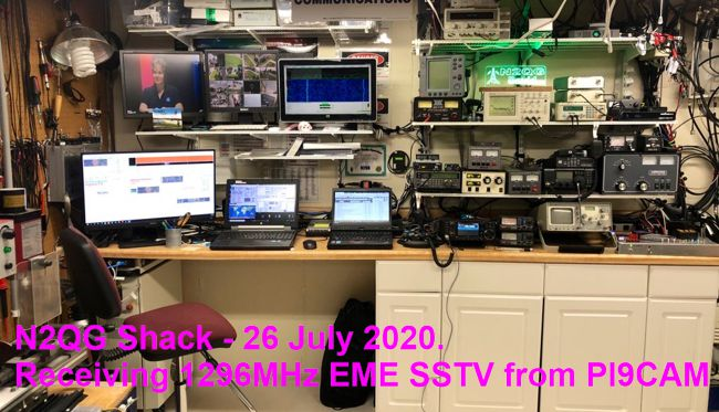 N2QG shack receiving 1296MHz EME SSTV from PI9CAM (c)2020 David Prutchi PhD